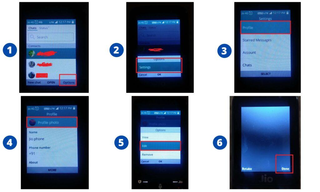 Jio phone में DP change करने के steps